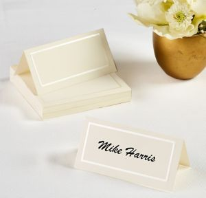 Ivory Pearlized Border Place Cards 50ct