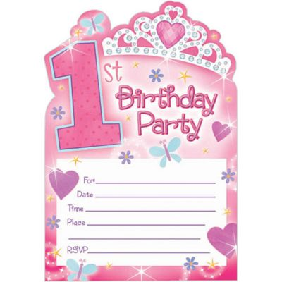 Princess 1st Birthday Invitations 20ct