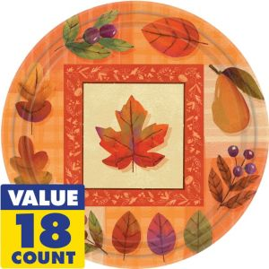 Watercolor Leaves Lunch Plates 18ct