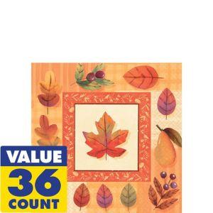 Watercolor Leaves Beverage Napkins 36ct