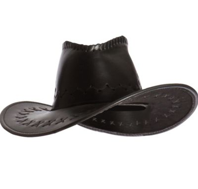 Faux Leather Cowboy Hat