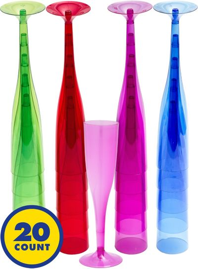 Assorted Color Plastic Champagne Glasses 20ct
