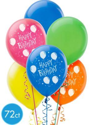 Balloon Fun Happy Birthday Balloons 72ct