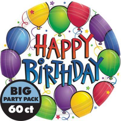 Balloon Fun Happy Birthday Lunch Plates 60ct