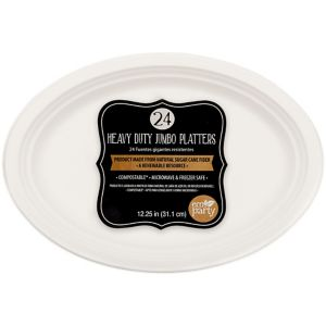 Eco-Friendly White Sugar Cane Platters 24ct