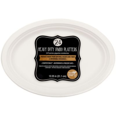 Eco Friendly White Paper Platters 24ct