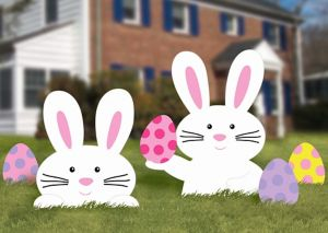 Easter Bunnies & Eggs Yard Stakes 5ct