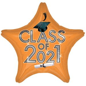 Star Class of 2015 Orange Graduation Balloon