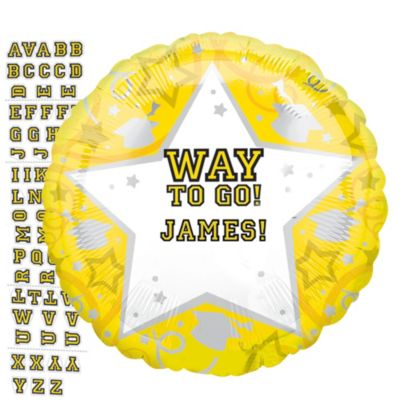Yellow Graduation Balloon - Personalized