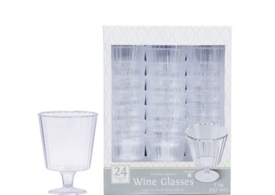 CLEAR Premium Plastic Wine Glasses 24ct