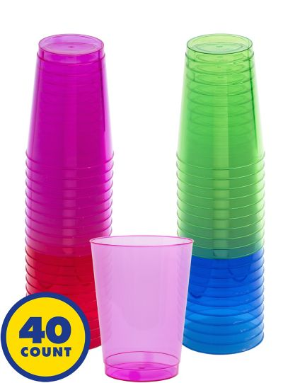 Assorted Color Plastic Tumblers 40ct