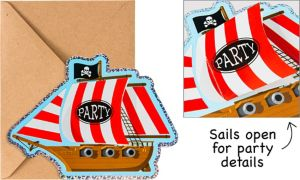 Premium Prismatic Pirate Ship Invitations 8ct