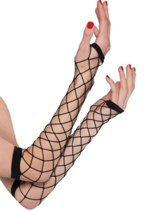 Black Fingerless Net Gloves