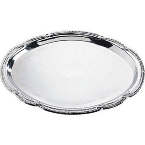 Chrome Scalloped Oval Platter