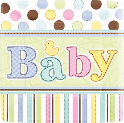 Tiny Bundle Baby Shower Dinner Plates 18ct