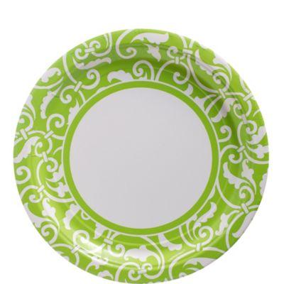 Kiwi Ornamental Scroll Lunch Plates 8ct
