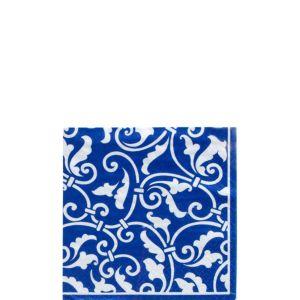 Royal Blue Ornamental Scroll Beverage Napkins 16ct
