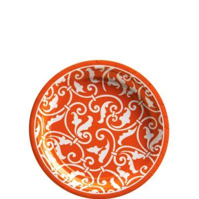 Orange Ornamental Scroll Dessert Plates 8ct