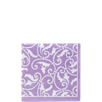 Lavender Ornamental Scroll Beverage Napkins 16ct