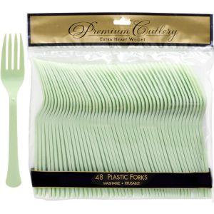 Leaf Green Premium Plastic Forks 48ct