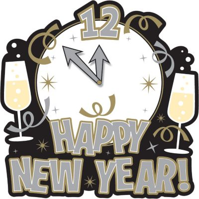 Happy New Year's Clock Cutout