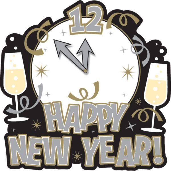 Happy New Year's Clock Cutout