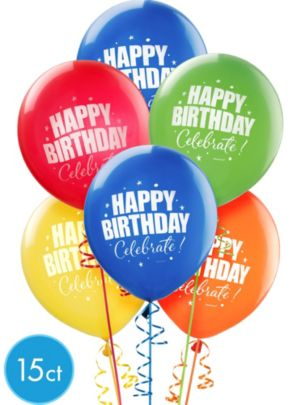 Happy Birthday Balloons 15ct - A Year to Celebrate
