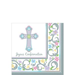 Blessed Day Confirmation Beverage Napkins 36ct