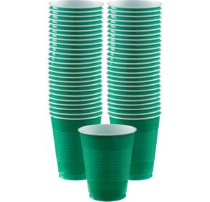 BOGO Festive Green Plastic Cups 16oz 50ct