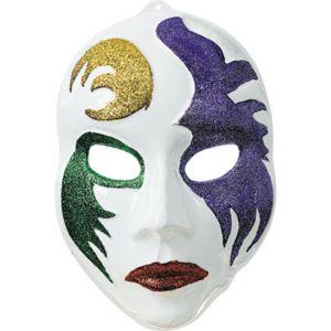 3D White Mardi Gras Mask Decoration