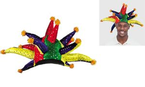 Crazy Rainbow Sequined Mardi Gras Jester Hat