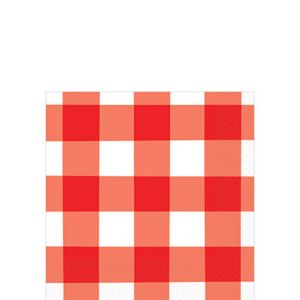 American Summer Red Gingham Beverage Napkins 16ct