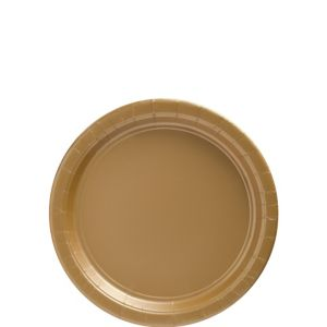 Big Party Pack Gold Paper Dessert Plates 50ct