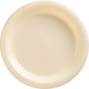 Vanilla Cream Plastic Dinner Plates 50ct