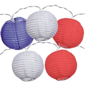 Patriotic Red, White & Blue Lantern String Lights