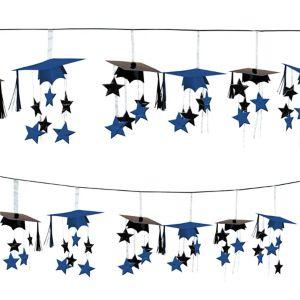 Royal Blue 3D Grad Cap Graduation Garland
