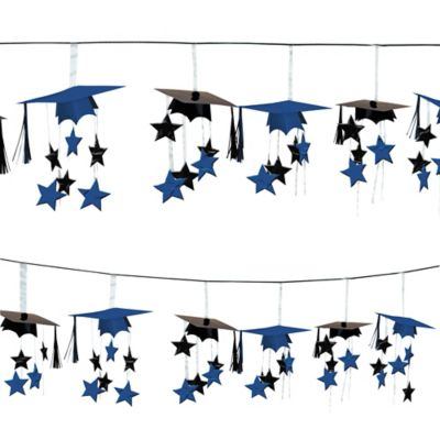 Royal Blue 3D Grad Cap Graduation Garland