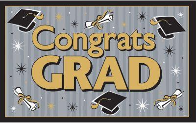 Black & Gold Vinyl Graduation Party Sign