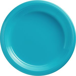 Big Party Pack Caribbean Blue Plastic Dinner Plates 50ct