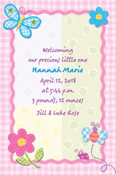 Custom Hugs & Stitches Girl Birth Announcements