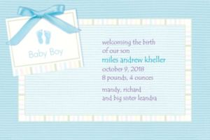 Custom Baby Soft Blue Birth Announcements