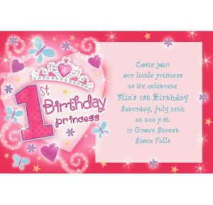Custom Princess 1st Birthday Invitations