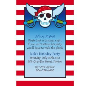 Custom Pirate Party Stripe Invitations