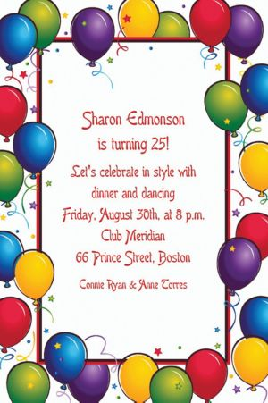Custom Balloon Fun Birthday Invitations