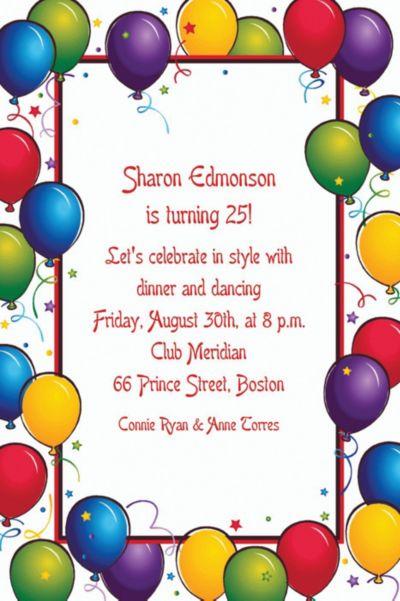Custom Balloon Fun Birthday Invitations
