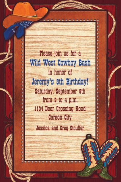 Custom Giddy Up Cowboy Western Invitations