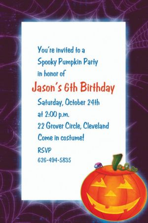 Custom Playful Pumpkin Halloween Invitations