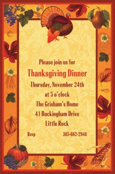 Thanksgiving Scrapbook Custom Invitation