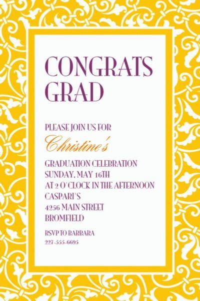 Sunshine Yellow Ornamental Scroll Custom Invitation