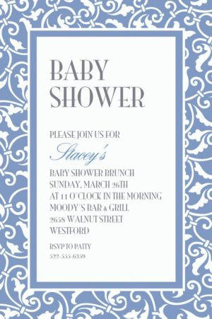Custom Pastel Blue Ornamental Scroll Invitations